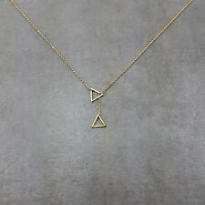 Double Triangle [GOLD] Plated Necklace Gift Angle Drop Geometry Collar Jewelry