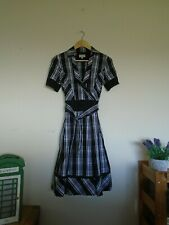 Karen Millen 50's vintage style black & white dress belted lined dress size 10