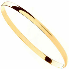Ladies Solid 9ct Yellow Gold D-Shape 4mm Gauge Bangle Bracelet Gift Boxed 65mm