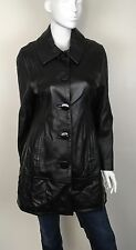 Wilson's Women's 100% Leather Coat Large Buttons Fully Lined Black Size Large