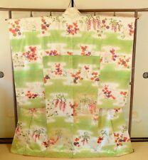 Japanese Vintage Kimono Furisode Silk Women Flowers Wisteria Robe Dress /274