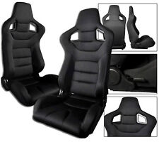 2 Black Cloth Racing Seats RECLINABLE ALL BMW NEW **