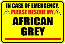 IN CASE OF EMERGENCY PLEASE RESCUE MY AFRICAN GREY PARROT STICKER