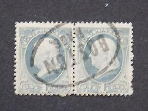 "(1) USED U S 1881-2 pair Stamps off paper Scott # 206-Franklin-""Boston Mass canc"