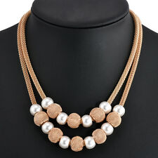 Women Fashion Pearl Pendant Choker Chunky Chain Statement Bib Necklace Jewelry