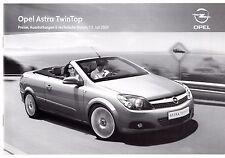 Opel Astra TwinTop Specification 2009-10 German Market Brochure Edition Cosmo