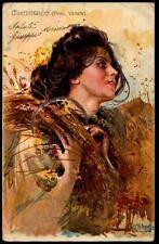 Vintage Spanish Art Nouveau UB PPC - Woman With Sheaf of Corn