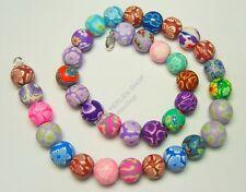 Polymer Clay Perlen kette 12mm Kinder Schmuck Bunt mit Blume Halskette R125