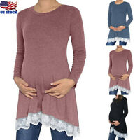 Pregnant Women Maternity Long Sleeve Lace Tunic Tops Shirt Pullover Top Blouse