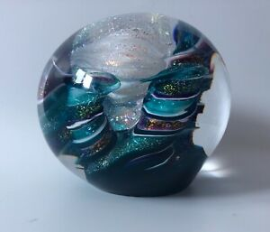 Carmen D'Aquila Dichroic Glass Glitter Round Paperweight Signed by Artist LARGE