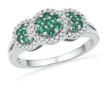 10k White Gold Womens Lab Emerald Diamond Cluster Ring 3/8 Cttw