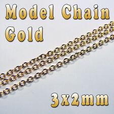 HOBBY MODELLO CHAIN - 3 mm x 2 mm-Colore Oro-al metro