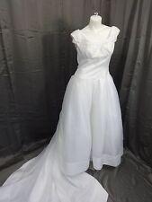 JASMINE PRINCESS STYLE WHITE SATIN & CHIFFON BEADED PEARLS WEDDING DRESS SIZE 16