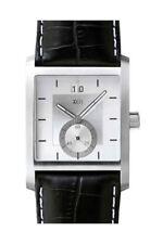 Xen Herrenuhr Edelstahl Silber Lederband Schwarz Datum Analog  XQ0086