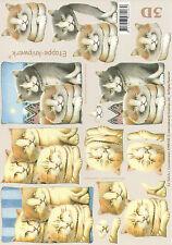 3D Motivbogen Etappenbogen Bilderbogen Grußkarte Moppel Katzen (291) Basteln