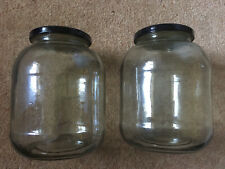 Two Large Glass Jars With Lids For Jam/Chutney/Up Cycling 16cm Tall