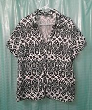 Women's Apt 9 Black & White Paisley Short Sleeve Button Up Top Size 3X