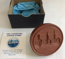 Cookie Stamp 3in Churches 250th Mahone Bay NS 2004 Birdsall Worthington Pottery