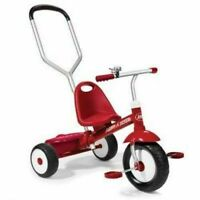 Radio Flyer Deluxe Steer and Stroll Kids Outdoor Recreation Bike Tricycle, Red