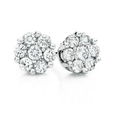 1ct Round Cut Diamond Cluster Stud Earrings Push Back 14k Real Solid White Gold
