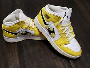 Nike Air Jordan 1 Mid Dynamic Yellow Floral Boys Athletic Shoes Size 4Y