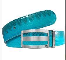 """Druh Belt - Turquoise/Gray Genuine Snakeskin 32""""."""