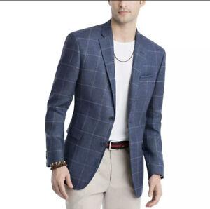 New Tommy Hilfiger Mens Trevor Navy Windowpane Blazer Sportcoat Jacket 42 Long