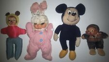 VINTAGE STUFFED ANIMAL LOT OLD GUND RUBBER BUNNY SMOKING MONKEY MICKEY MOUSE DOG