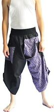 Two Tone Thai Fisherman Pants Yoga Trousers Free Size Cotton Black and blue