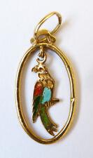 Petit pendentif en or massif + émail avec perroquet perruche