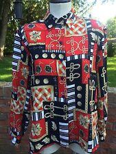 Alia Crinkle Print Long Sleeve Blouse-Red/Navy