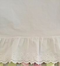 "Ralph Lauren Shabby Chic""BROMLEY LACE"" EMBROIDERED RUFFLE FLAT Sheet~White Twin"