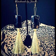 Gold Tassels & Black Bead Dangle Earrings Handmade