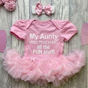 AUNTY NIECE TUTU ROMPER, White Glitter Aunty teach me all the Fun Stuff, Newborn