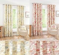 One Pair Of INTERIORS Bright Willow Print Panama Eyelet Lined Curtains 2 Colours