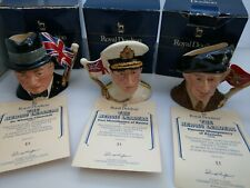 More details for full set royal doulton heroic leaders montgomery churchill mountbatten jugs
