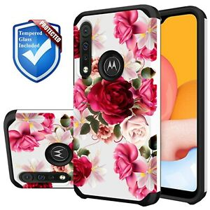 For Motorola Moto G Stylus 2020 Case Red Floral Cute Girl Cover +Tempered Glass