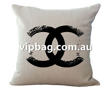 Vintage Designer BLACK CC LOGO Linen Cushion Cover  45x45cm Home Decor