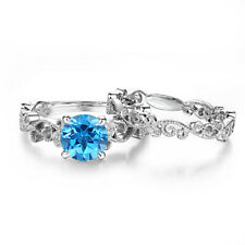 Solid 10k White Gold Vintage Jewelry 2.66ct Swiss Blue Topaz Round Diamonds Ring
