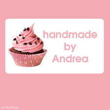 260x Personalised Cupcake Handmade by Pink Baking Party Favour Mini Stickers 373