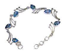 charming Blue Topaz 925 Solid Sterling Silver Blue Bracelet Natural suppiler US