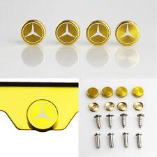 Laser Etched 4 Gold Aluminum Mercedes Benz License Plate Frame Bolt Screws Cap