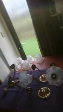 3 Part Victorian Brass Effect Ceiling & Wall Light Fitting Frosted Glass Shades