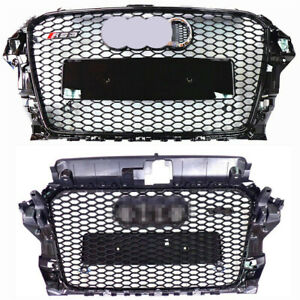 For Audi A3 S3 8V RS3 Style Front Grille (Gloss Black Frame + Mesh) Rings 14-16
