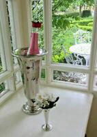 Vase silber hohe Rosenvase Jardiniere Wein Sektkühler Tischvase Bodenvase Kelch