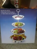 Godinger Silver Art Silver Plated Strand Of Pearls 4 Tier Round Bowls NIB