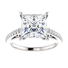 3.3 ct Moissanite and Diamond Engagement Ring Square Princess Cut 14K Gold