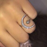 925 Sterlng Silber Ring Schmuck Einstellbar Stern Mond Damen Geburtstag Geschenk