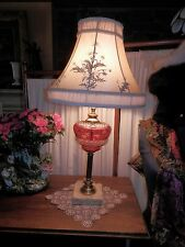 GORGEOUS Red Glass Cut to Clear Molded Vtg Table Lamp H 26""