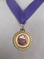 "coach award with royal blue drape gold edge cap & whistle 1 1/2"" diameter"